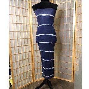 "Navy & White Striped ""Black/Bead"" Dress"